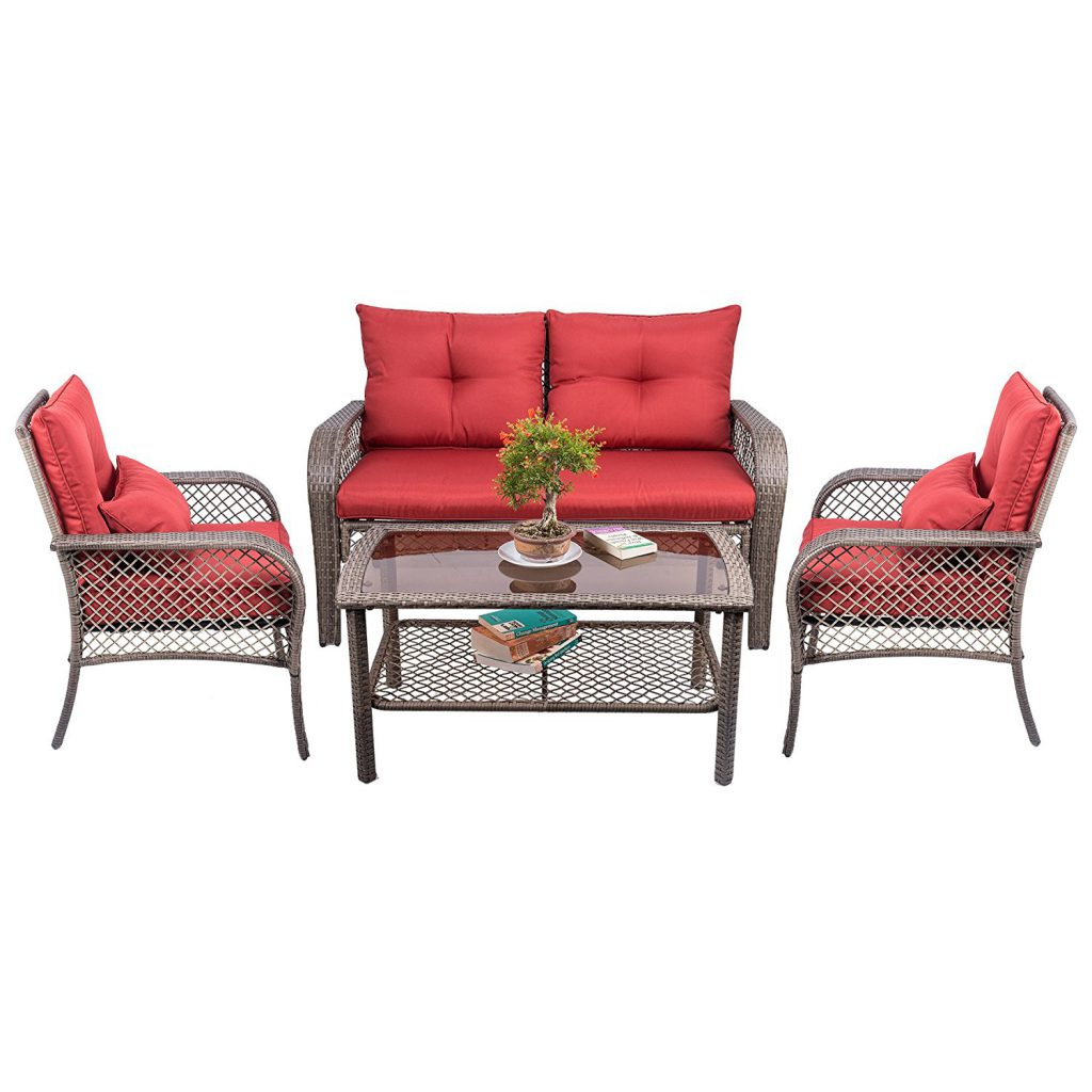 CO-Z 4 PCs All Weather Outdoor Chairs with Cushions PE Rattan Patio Furniture Set, for Backyard, Poo
